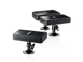 離れた2か所にそれぞれワイヤレスでHDMI信号を送信し、ディスプレイやプロジェクターから出力できるワイヤレスHDMIエクステンダー。 サンワサプライ ワイヤレス分配HDMIエクステンダー(2分配) VGA-EXWHD7
