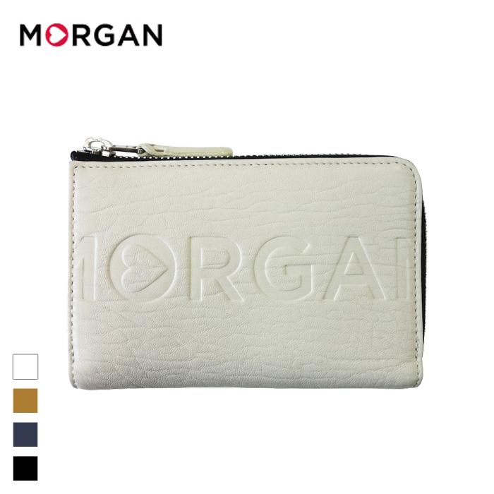 MORGAN/モルガン MR2001 本革 2つ折り ラウンドファスナー財布 (ホワイト)