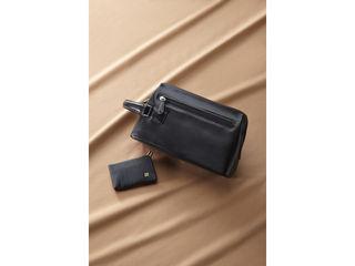オフィススリーワークス 日本製 牛革手作りダレス型ポーチ・カードケースセット/ブラック/B70-222