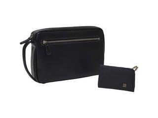 日本製 牛革セカンドバッグ・カードケースセット ブラック B300-222