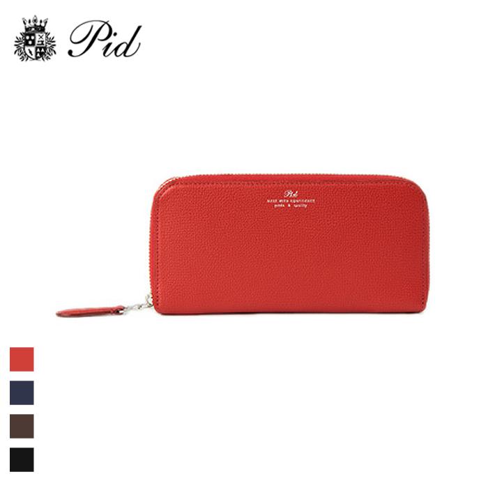 PID/ピー・アイ・ディー PAW1006 イタリアンレザー ラウンドファスナー長財布 (レッド)