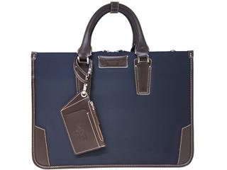 PID/ピー・アイ・ディー 25642 メンズ パスケース付 薄マチビジネスバッグ (ネイビー)