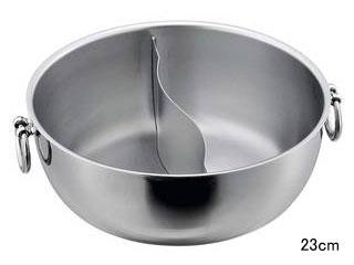 SW 電磁しゃぶしゃぶ鍋 ステンレス柄 半ストレート仕切 23cm
