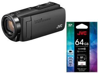 JVC/Victor/ビクター GZ-RX680-B(マットブラック)+CU-U11031 SDXCカード 64GBセット【rx680set】【everiosdset】 【ビデオカメラ】
