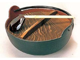 TOSHIN/東進販売 【五進印】田舎鍋鉄製内面茶ホーロー仕上/21cm(杓子付)