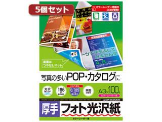 サンワサプライ 【5個セット】サンワサプライ カラーレーザー用フォト光沢紙・厚手 LBP-KAGNA3NX5