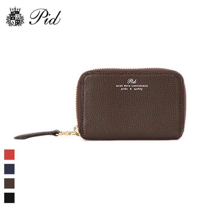 PID/ピー・アイ・ディー PAW1002 イタリアンレザー ラウンドファスナーコインケース 小銭入れ (チョコブラウン)
