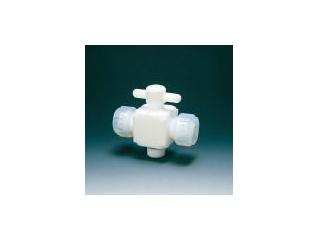 Flon/フロンケミカル フッ素樹脂(PTFE)二方バルブ接続8mm NR0028-002