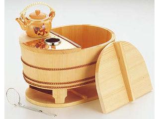YAMACO/ヤマコー サワラ小判型湯ドーフセット炭用/US-1025 4~5人用