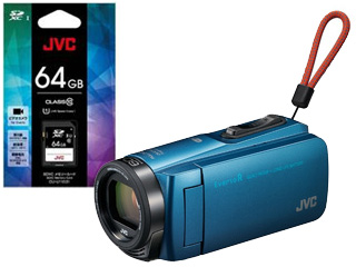 JVC/Victor/ビクター GZ-RX670-A(アクアブルー)+CU-U11031 SDXCカード 64GBセット【rx670set】【everiosdset】 【ビデオカメラ】
