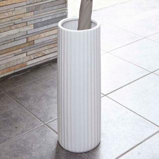 YAMAZAKI 山崎実業 直営限定アウトレット 陶器傘立て スリム ストライプ 大規模セール 7910 ホワイト