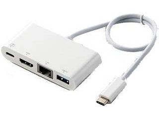 ELECOM エレコム Type-Cドッキングステーション/PD対応/充電用Type-C/USB(3.1)/HDMI/LANポート/30cmケーブル DST-C09WH