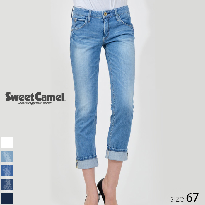 Sweet Camel/スウィートキャメル レディース ロールアップストレート デニム パンツ (L5 淡色デニム/サイズ67) SA-9312