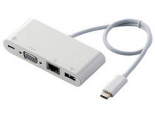 ELECOM エレコム Type-Cドッキングステーション/PD対応/充電用Type-C/USB(3.1)/D-sub/LANポート/30cmケーブル DST-C10WH