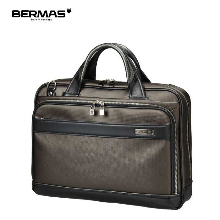 BERMAS/バーマス 60035 M.I.J JAPAN MADE- メンズ ビジネス 細マチブリーフバッグ 38cm (チョコ) キャリーオン ポリカーボネート 日本製