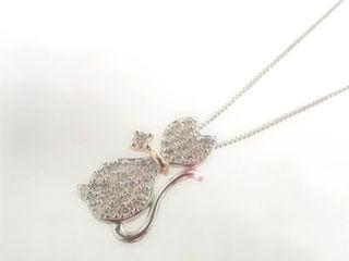 MJ 18金ダイヤモンドネックレス WG/PG (ホワイトゴールド/ピンクゴールド) 【納期2週間程度かかります】 天然ダイヤモンド ネコ 猫 キャット ダイヤモンド ネックレス ギフト プレゼント ジュエリー