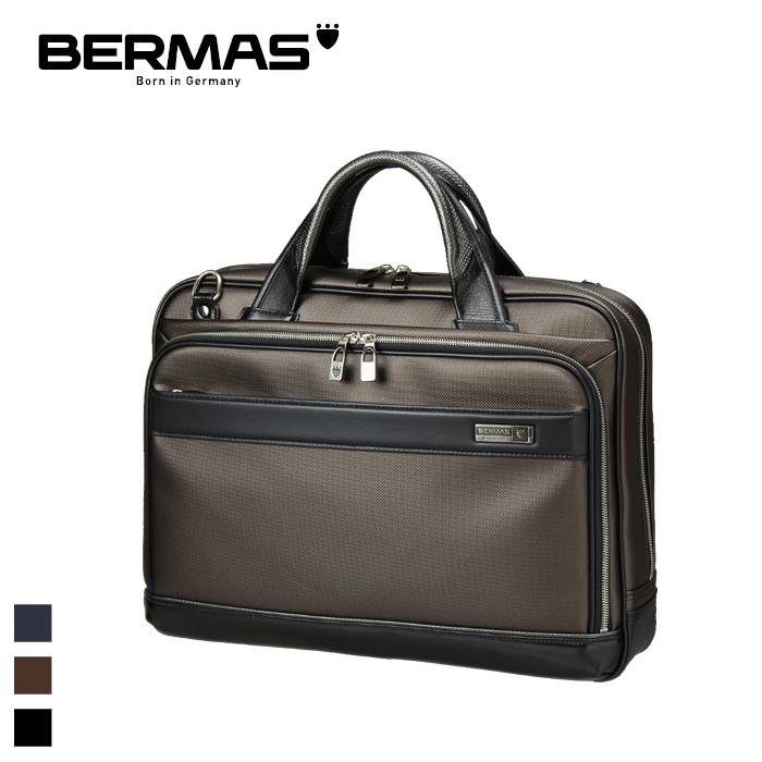 BERMAS/バーマス 60036 M.I.J -JAPAN MADE- メンズ ビジネス 2層ブリーフバッグ 42cm (チョコ) キャリーオン ポリカーボネート 日本製