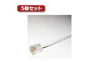 ミヨシ 【5個セット】 ミヨシ カテ6フラットケーブル30m ホワイト TWF-630WX5