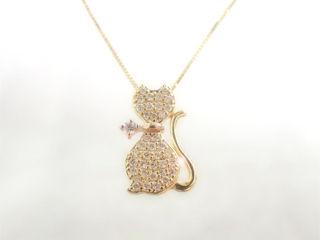 MJ 18金ダイヤモンドネックレス YG/PG (イエローゴールド/ピンクゴールド) 【納期2週間程度かかります】 天然ダイヤモンド ネコ 猫 キャット ダイヤモンド ネックレス ギフト プレゼント ジュエリー