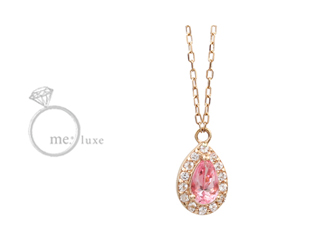 me.luxe/エムイーリュークス Swarovski. ピンクトパーズドロップネックレス スワロフスキー クリスタル ネックレス ペンダント ジュエリー プレゼント ギフト 包装 記念日