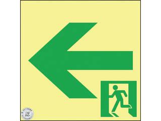 J.G.C./日本緑十字社 高輝度蓄光避難誘導ステッカー標識 非常口← 120×120 S級認定品 364962