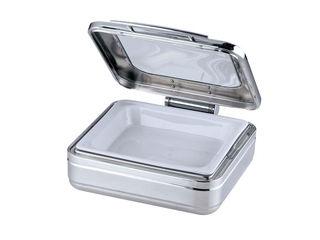 Sampo/三宝産業 角チェーフィング 2/3サイズ/J302-Tガラス蓋・陶器中皿