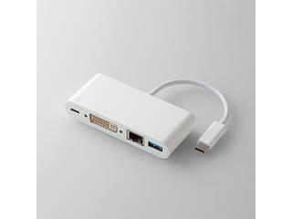ELECOM/エレコム PD対応Type-Cドッキングステーション/USB(3.0)1ポート/DVI1ポート/LANポート/ホワイト DST-C04WH