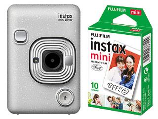 FUJIFILM/フジフイルム instax mini LiPlay(ストーンホワイト)+インスタントフィルム instax mini 1パック(10枚入)セット 【liplayset】【2000円キャッシュバックキャンペーン!1/31まで】
