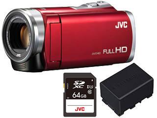 JVC/Victor/ビクター GZ-E109-R(レッド)+スペアリチウムイオンバッテリー+SDXCカード 64GBセット【gze109set】 【ビデオカメラ】