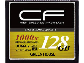 GREEN HOUSE/グリーンハウス 4K対応 コンパクトフラッシュ 128GB 1000倍速 UDMA7対応 VPG-65対応 GH-CF128GZ