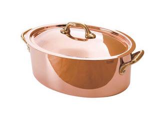 純銅製オーバルココット26cm蓋付