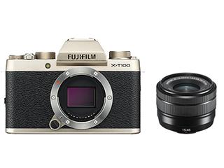 FUJIFILM/フジフイルム F X-T100LK-G(シャンパンゴールド) FUJIFILM X-T100 レンズキット 【FUJIFILM X-T100/XC15-45mmF3.5-5.6 OIS PZ】
