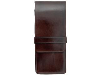 Il Bussetto/イルブセット Pen case/ペンケース 【ダークブラウン】 3本用 ペンホルダー ケース  筆箱  イタリア 万年筆
