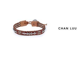 CHAN LUU/チャンルー ビーズミックス レザーブレスレット BSM-1670(RED THRUSH) チャンルーオリジナル巾着袋付き!