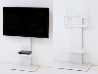KUROSHIO/クロシオ 壁に穴を開けずにTVを壁掛風に置ける! Wand/ワンド 壁掛け風テレビ台 ロー ホワイト 94835