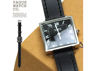 VAGUE WATCH CO./ヴァーグウォッチ スクエア黒フェイスレザーベルト 0528 CR-S-003