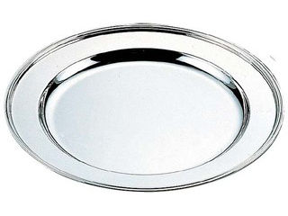 H 洋白 丸肉皿 12インチ 三種メッキ