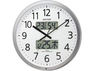 RHYTHM/リズム時計 4FN403SR19 【プログラムカレンダー403SR】 電波掛け時計 シルバー/温度湿度表示/オフィス向け 【RPS160324】