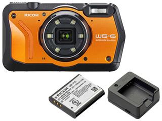 RICOH/リコー WG-6(オレンジ)+DB-110 バッテリー+BJ-11 充電器セット【wg6set】