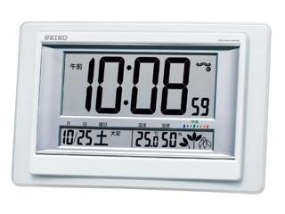 SEIKO 驚きの値段 <セール&特集> セイコークロック SQ432W 日付表示 電波置き時計 温湿度表示