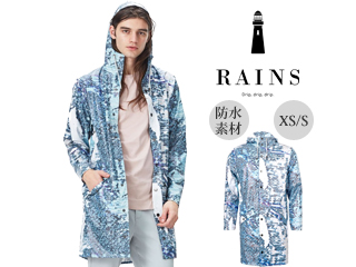 RAINS/レインズ 本格防水■レインロングジャケット Andrew Salgado AOP Grey XS/S 防水 撥水 レインコート 雨 雪 男女兼用 雨具 合羽