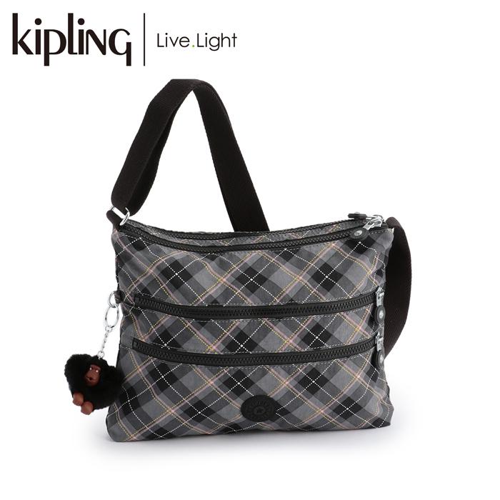 【日本限定柄】《正規品》 KIPLING/キプリング ALVAR/アルバー 斜めがけショルダーバッグ (Dotty Lined Chk/ドッティーラインドチェック) バッグ 鞄 レディース 軽量 ナイロン