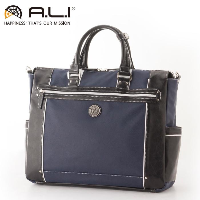 A.L.I/アジア・ラゲージ TC-3450 Tom Chris メンズ 合皮ビジネストートバッグ (ネイビー・ブラック)