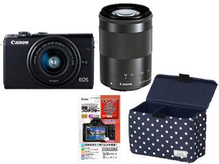 CANON/キヤノン EOS M100・ダブルズームキット(ブラック)+液晶保護フィルム+インナーボックスM(ドット/ネイビー)セット 【m100wzset】