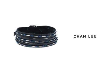 CHAN LUU/チャンルー ビーズ×レザー 3連ラップブレスレット BSM-1643(BLUE MIX) チャンルーオリジナル巾着袋付き!