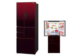 【標準配送設置無料!】 SHARP/シャープ 【まごころ配送】SJ-GX50E-R プラズマクラスター冷蔵庫 COCORO KITCHEN対応(グラデーションレッド)