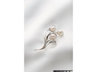 チタック ベストセレクション あこや真珠 リーフブローチ/CHBR105