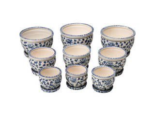 陶器植木鉢9点セット(受皿付) 花柄A CV34/3DKB4-3