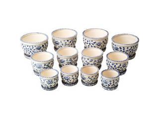 陶器植木鉢12点セット(受皿付) 花柄A CV34/3DKB4-4