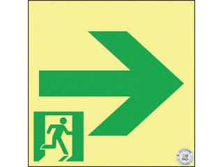 J.G.C./日本緑十字社 高輝度蓄光避難誘導ステッカー標識 非常口→ 150×150 A級認定品 377951